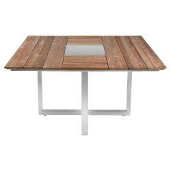 Zebra Quadux Tisch 140x140x75 aus Edelstahl und recycelt Teak mit Schweizer Kante