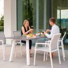 Stern Komplett-Set KARI mit Gartentisch INTERNO 180x100 cm Aluminium weiß und 4x Stapelsessel