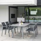 Stern Komplett-Set KARI mit Gartentisch INTERNO 220x100 cm Aluminium graphit und 6x Stapelsessel