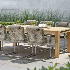 Stern Set GRETA 6x Freischwinger Alu champagner mit Synthetikfaser ecru und Stern Tisch aus Old Teak 220x100 cm