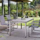 Stern Evoee Edelstahl Set 4 Freischwingersessel mit Tisch Vierkantrohr und Tischplatte Porzellankeramik 160x90cm Dekor Anthrazit Schiefer