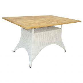 ZEBRA Tisch Loomus rechteckig Geflecht silkwhite, Alu-Rahmen und Teakholzplatte
