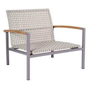 Stern Lounge Sessel Lucy, taupe mit Gurtbespannung natur und Teakarmlehnen