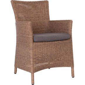 Stern Sessel Sortino mit Geflecht natur antik und Kissen 100% Polyester Dessin taupe