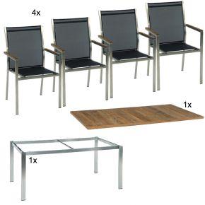 Stern Gartenmöbel Set Cardiff 6-teilig Stapelsesessel und Tischgestell aus Edelstahl mit Teak Tischplatte