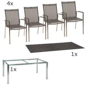 Gartenmöbel Set Lavagna 6-teilig Stapelsessel und Opus Tischgestell aus Edelstahl mit Tischplatte im Dekor Beton