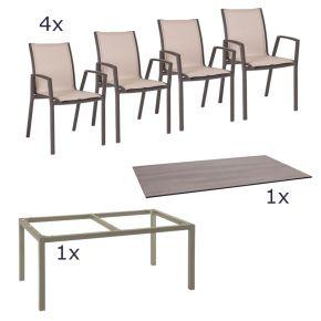 Stern Gartenmöbel Set Ron 6-teilig Stapelsessel und Tischgestell aus Aluminium in Taupe mit Tundra Tischplatte
