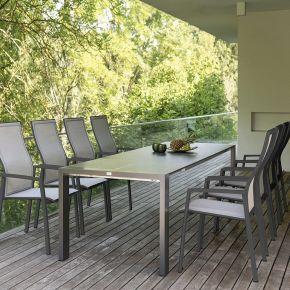 Stern Gartenmöbel-Set KARI mit Ausziehtisch 200(260)x90x75cm und 8x Stapelsessel KARI, Aluminium anthrazit