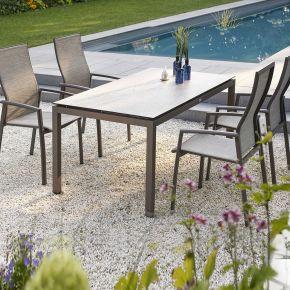Stern Komplett-Set KARI mit Gartentisch 160x90 cm Aluminium taupe und 4x Stapelsessel