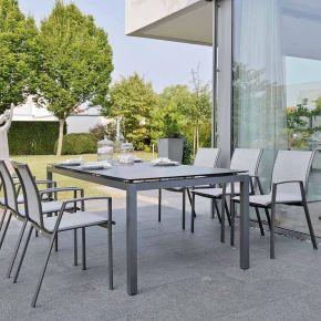 Stern Komplett-Set RON mit Gartentisch 200x100 cm Aluminium anthrazit und 6x Stapelsessel