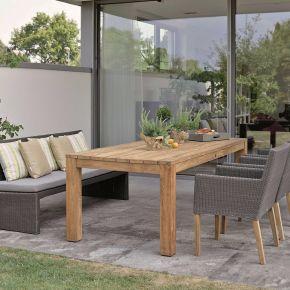 Stern Gartenmöbel-Set NOEL & PEP Geflecht basaltgrau mit Gartentisch Old Teak 220x100 cm