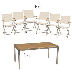 Stern Gartenmöbel Set Mali 7-teilig Balkonklappsessel und Tischgestell aus Edelstahl mit Teak Tischplatte