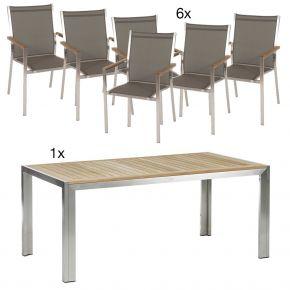 Komplettset Siena Tisch 180 cm Edelstahl/Teak mit 6x Stapelsessel Cardiff, Edelstahl mit Textilen taupe