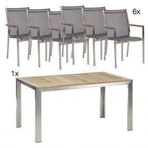 Komplettset Siena Tisch 150 cm Edelstahl/Teak mit 4x Stapelsessel Cardiff, Edelstahl mit Textilen silbergrau