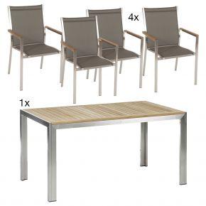 Komplettset Siena Tisch 150 cm Edelstahl/Teak mit 4x Stapelsessel Cardiff, Edelstahl mit Textilen taupe