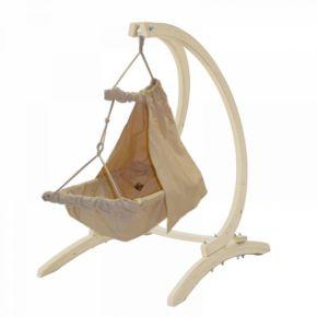 Lola Babyhängematten Set Holzgestell Baby Carrello mit Nido Bambini und Vorhang