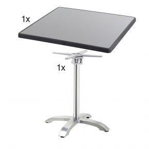 Diamond Garden Cella Tischgestell aus Aluminium poliert, 66 x 66 x 71 cm mit DiGalit Tischplatte 70x70cm - Punti