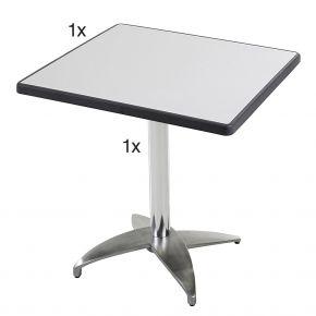 Diamond Garden Leon Tischgestell Nr. 4 Aluminium mit DiGalit Tischplatte 70x70cm - Metall gebürstet