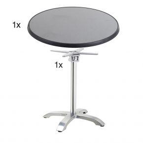 Diamond Garden Cella Tischgestell aus Aluminium poliert, 66 x 66 x 71 cm mit  DiGalit Tischplatte 70cm rund  -Punti