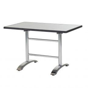Diamond Garden Cella Doppeltischgestell aus Aluminium poliert, 71 x 66 x 71 cm mit DiGalit Doppeltischplatte 115x70cm - Metall gebürstet