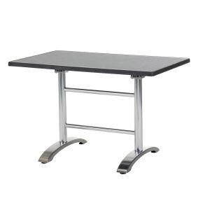 Diamond Garden Cella Doppeltischgestell aus Aluminium poliert, 71 x 66 x 71 cm mit DiGalit Doppeltischplatte 115x70cm - Pizarra