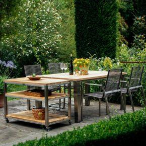Diamond Garden Atlanta Stapel- und Swingstuhl Edelstahl Mocca Gartenmöbelset mit Piero Tisch 160x100cm Teak breite Lamellen und Piazza Beistelltisch 100x60 cm
