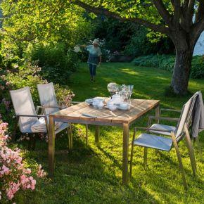 Diamond Garden Monaco Edelstahl Braun-Tricolor set mit Tisch Barletta Teak 150x90cm