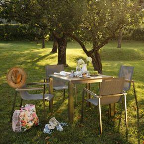 Diamond Garden Rimini Edelstahl Braun-Tricolor Gartenmöbelset mit Tisch Siena 90x90cm