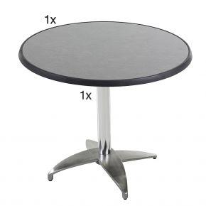 Diamond Garden Leon Tischgestell Nr. 4 Aluminium mit DiGalit Tischplatte 70cm rund - Pizarra