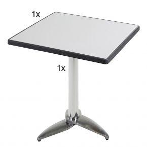 Diamond Garden Leon Tischgestell Nr. 3 Aluminium mit DiGalit Tischplatte 70x70cm - Metall gebürstet