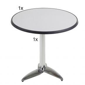 Diamond Garden Leon Tischgestell Nr. 3 Aluminium mit DiGalit Tischplatte 70cm rund - Metall gebürstet