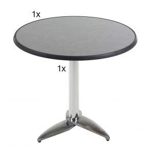 Diamond Garden Leon Tischgestell Nr. 3 Aluminium mit DiGalit Tischplatte 70cm rund - Pizarra