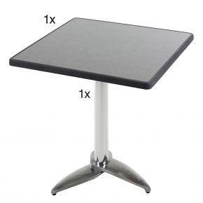 Diamond Garden Leon Tischgestell Nr. 3 Aluminium mit DiGalit Tischplatte 70x70cm - Pizarra