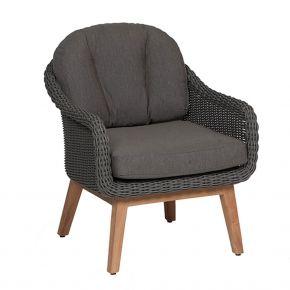 Diamond Garden Memphis Lounge Sessel / Geflecht/Teak inkl. Sitz- und Rückenkissen