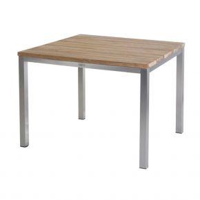 Diamond Garden Barletta Tisch 90×90 cm / Edelstahl/Recycled Teak breite Lamellen