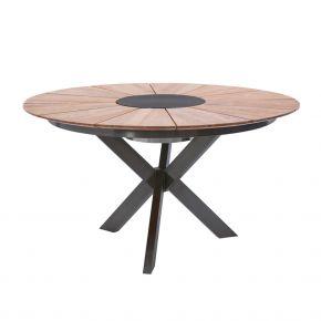 Diamond Garden Tisch Lyon Ø Fase 140cm mit Edelstahl Dunkelgrau und Recycled Teak