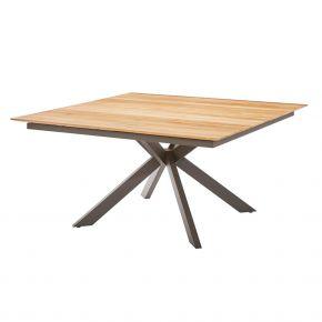 Diamond Garden Lyon Quattro Tisch 150x150 cm mit 4 Planken Edelstahl Dunkelgrau und Recycled Teak