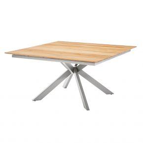 Diamond Garden Lyon Quattro Tisch 150x150 cm mit 4 Planken aus Edelstahl und Recycled Teak