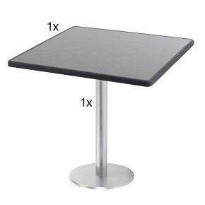 Diamond Garden Viana Tischgestell rund, Nr.1 Aluminium gebürstet mit DiGalit Tischplatte 70x70cm - Pizarra