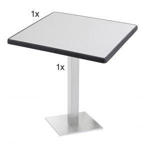 Diamond Garden Viana Tischgestell eckig, Nr.3 Aluminium gebürstet mit DiGalit Tischplatte 70x70cm - Metall gebürstet