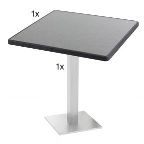 Diamond Garden Viana Tischgestell eckig, Nr.3 Aluminium gebürstet mit DiGalit Tischplatte 70x70cm - Pizarra