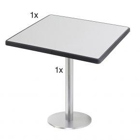 Diamond Garden Viana Tischgestell rund, Nr.1 Aluminium gebürstet mit DiGalit Tischplatte 70x70cm - Metall gebürstet