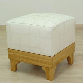 Lederhocker Holz, weiß
