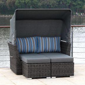 ZEBRA Jack Lounge Junior Set taupe mit Sonnendach und Rückenkissen blue stripes