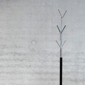 Jan Kurtz Kleiderständer LONDON, Stahlrohr schwarz/verchromt 177 cm hoch, Rohr: Ø 32/13 mm, Fuß Ø 30,5 cm