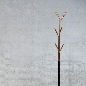 Jan Kurtz Kleiderständer LONDON, Stahlrohr schwarz/kupfer 177 cm hoch, Rohr: Ø 32/13 mm, Fuß Ø 30,5 cm