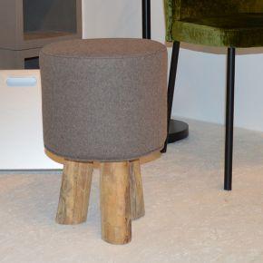 Jan Kurtz Hocker KIOWA, Teak, ca. Ø 30 cm, 45 cm hoch, Bezug: Loden sand