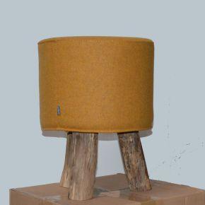 Jan Kurtz Hocker KIOWA, Teak, ca. Ø 30 cm, 45 cm hoch, Bezug: Loden senf