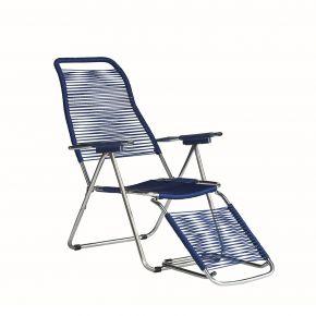 Jan Kurtz Armlehnsessel SPAGHETTI, Gestell: Aluminium Bespannung: PVC-Band blau, ausklappb. Fußteil