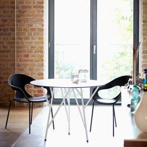 Jan Kurtz Tisch ASTWERK, Ø 100 cm, Stahlrohr pulverbeschichtet weiß, Platte: HPL 10 mm, weiß, Niveauausgleich